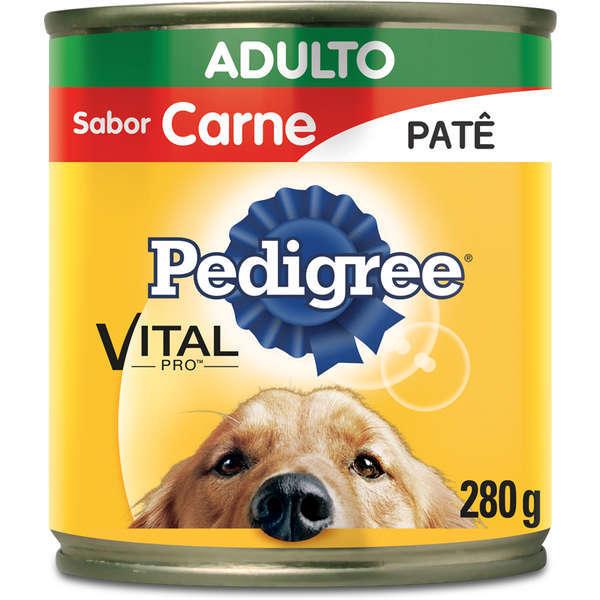 Ração pedigree lata carne pate para cães adulto 280g