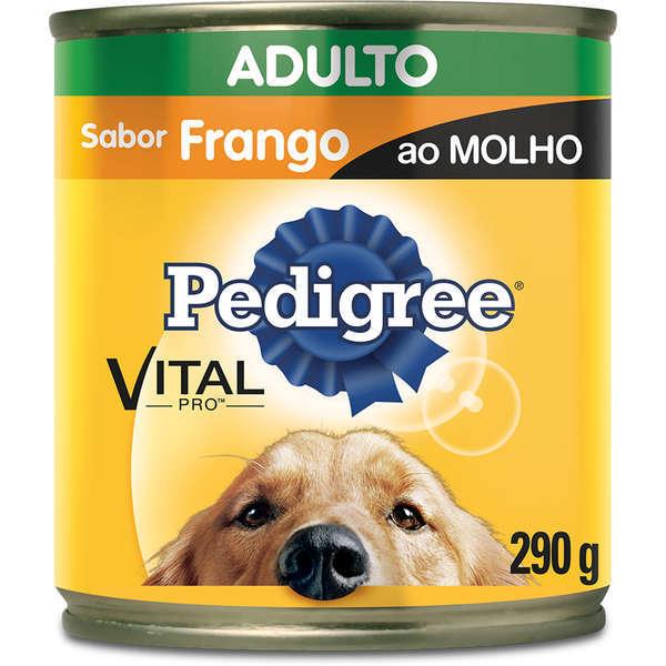 Ração pedigree lata frango ao molho para cães adulto 290g