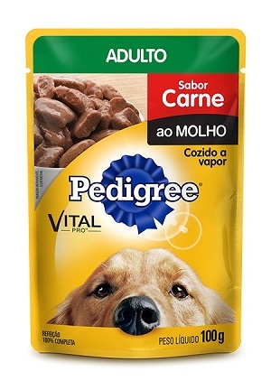 Ração pedigree sache carne para cães adulto 100g