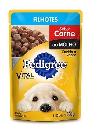 Ração pedigree sache carne para cães filhotes 100g