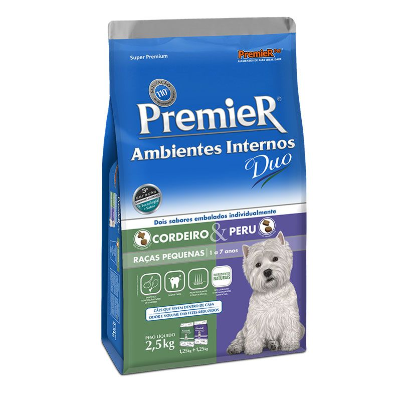 Ração Premier Ambientes Internos Duo Cordeiro e Peru para Cães Adultos Raças Pequenas