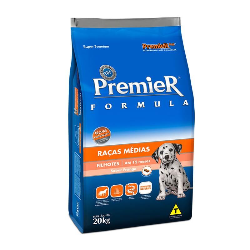 Ração premier formula frango para cães filhotes raças médias 20kg