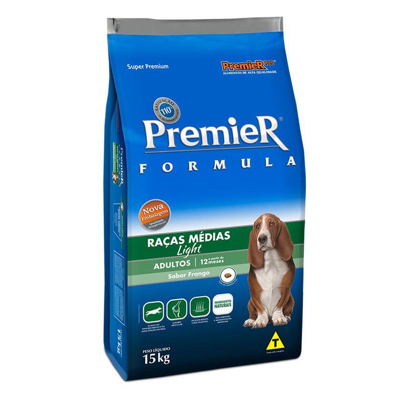 Ração premier formula light frango para cães adultos raças médias 15kg