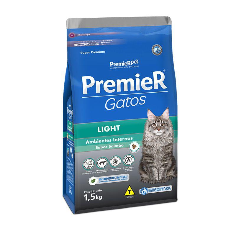 Ração Premier Gatos Ambientes Internos Light Salmão para Gatos Adultos