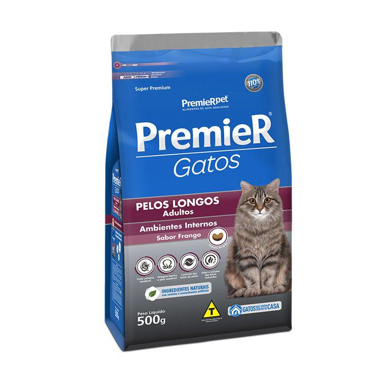 Ração Premier Gatos Ambientes Internos Pelos Longos Frango para Gatos Adultos