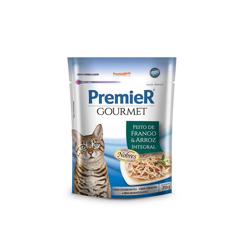 Ração premier gourmet sachê peito de frango e arroz integral para gatos 70g