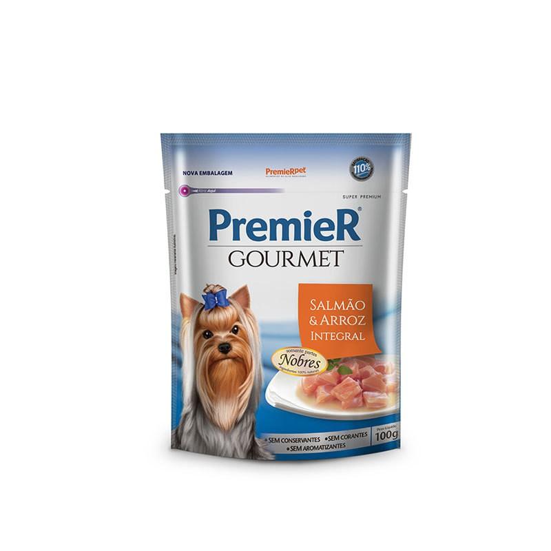 Ração premier gourmet sachê salmão e arroz integral para cães 100g
