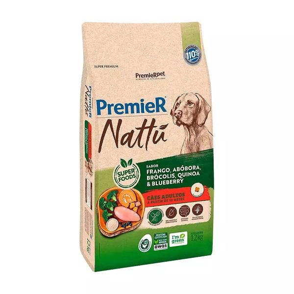 Ração premier nattu adulto para cães raças médias e grandes sabor abóbora 12kg
