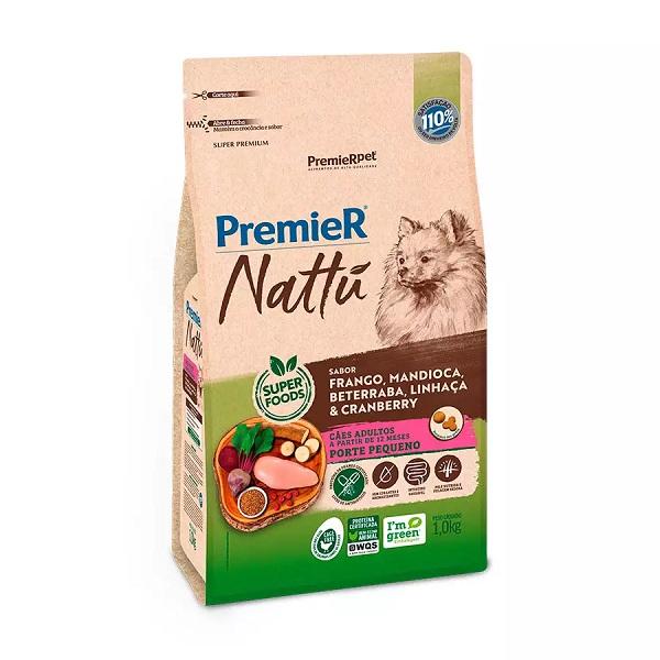 Ração premier nattu adultos para cães raças pequenas sabor mandioca