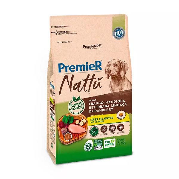 Ração premier nattu filhotes para cães raças médias e grandes sabor mandioca