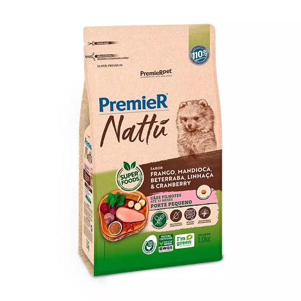 Ração premier nattu filhotes para cães raças pequenas sabor mandioca