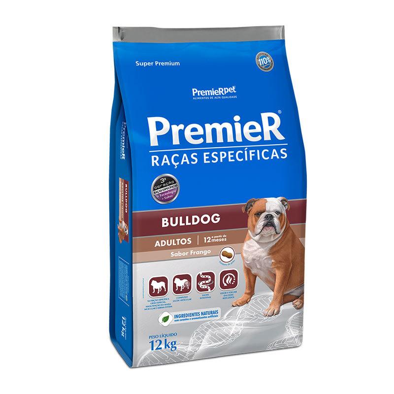 Ração premier raças específicas bulldog frango para cães adultos 12kg