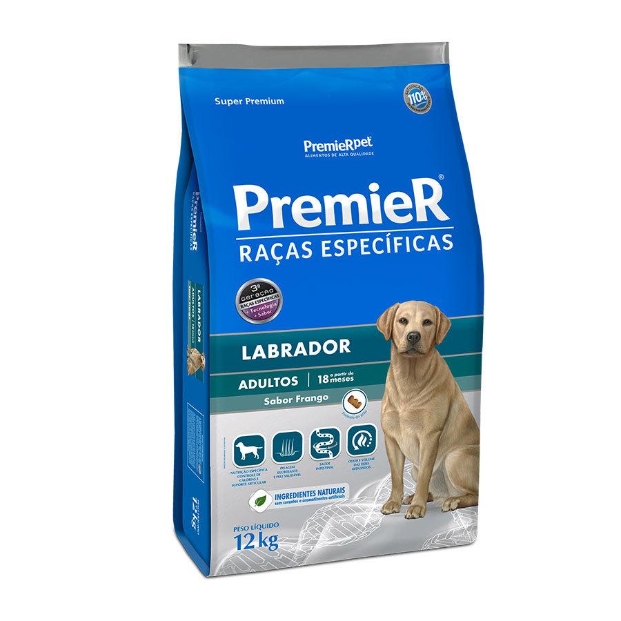 Ração premier raças específicas labrador frango para cães adultos 12kg