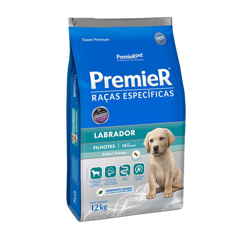 Ração premier raças específicas labrador frango para cães filhotes 12kg