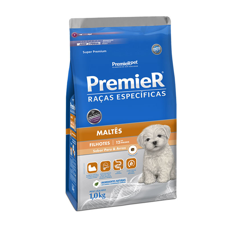 Ração premier raças específicas maltês peru e arroz para cães filhotes 1kg
