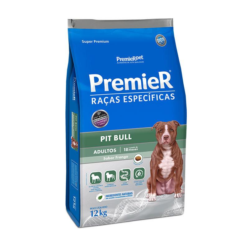 Ração premier raças específicas pit bull frango para cães adultos 12kg