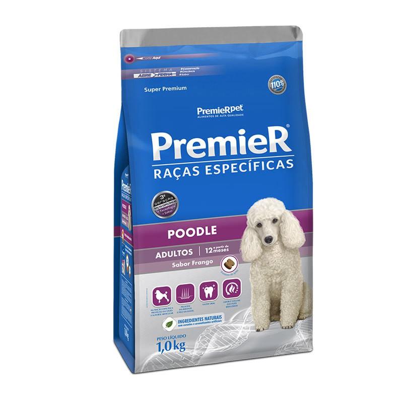 Ração premier raças específicas poodle frango para cães adultos 1kg
