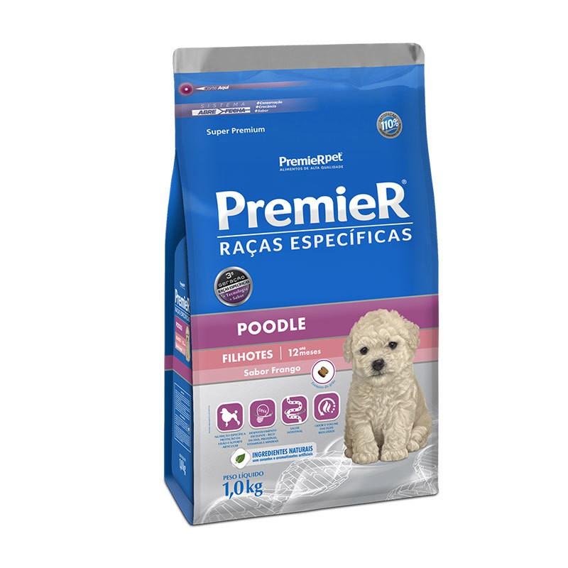 Ração premier raças específicas poodle frango para cães filhotes 1kg