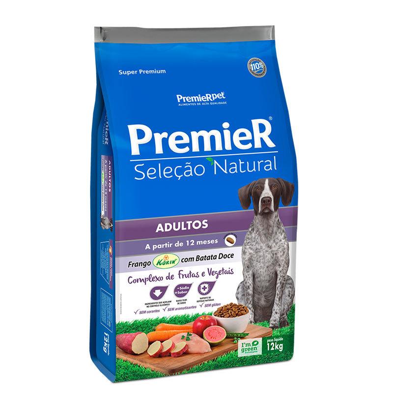 Ração premier seleção natural frango com batata doce para cães adultos 12kg