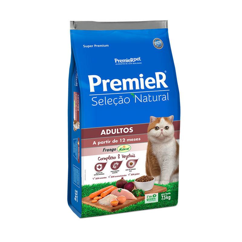 Ração premier seleção natural frango para gatos adultos 7,5kg