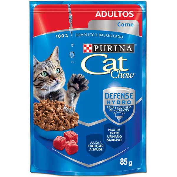 Ração purina cat chow sache adulto carne 85g