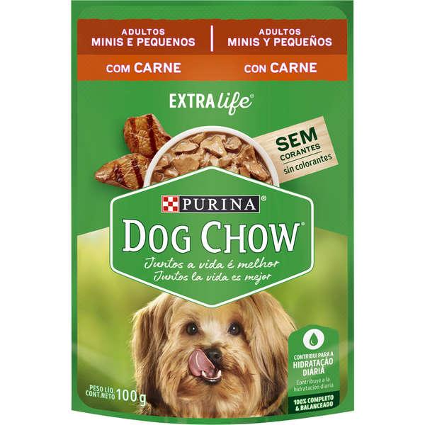 Ração purina dog chow sache carne adulto raças pequenas 100g