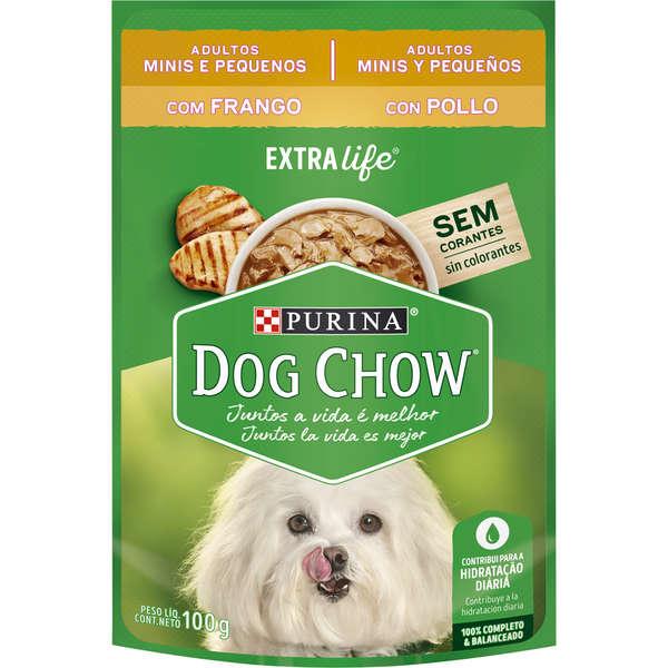 Ração purina dog chow sache frango adulto raças pequenas 100g