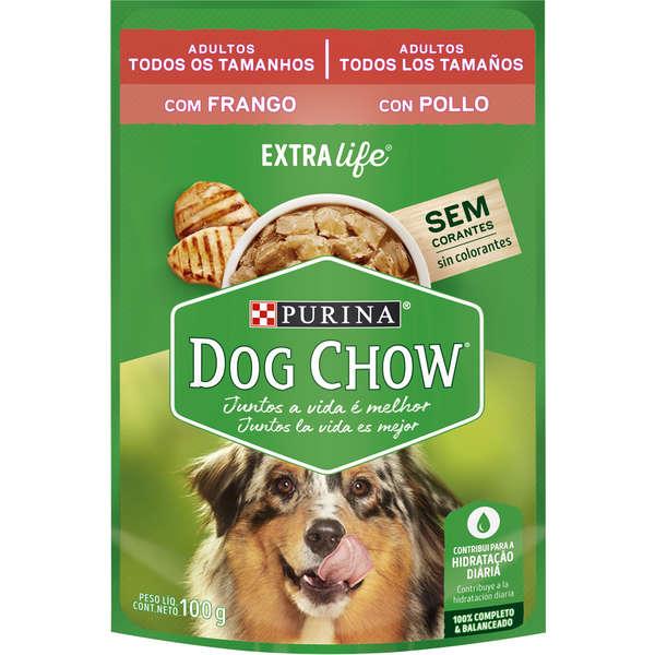 Ração purina dog chow sache frango adulto todos os tamanhos 100g