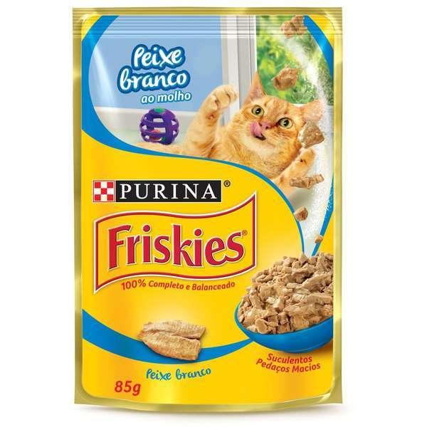 Ração purina friskies sache peixe branco 85g