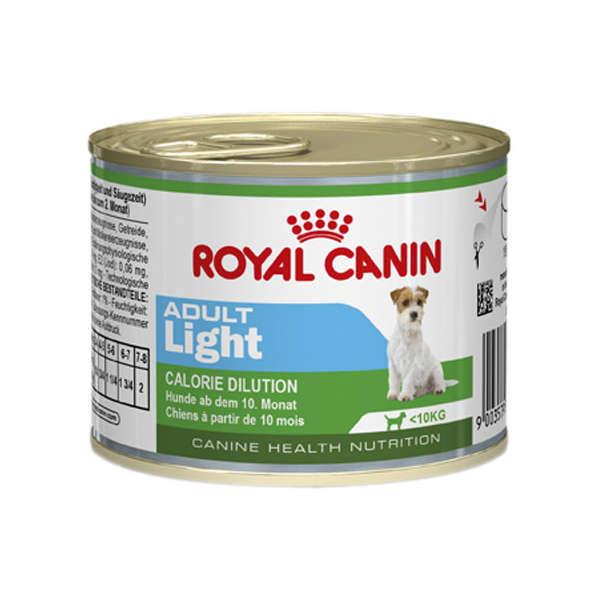 Ração royal canin lata cães adulto light 195g