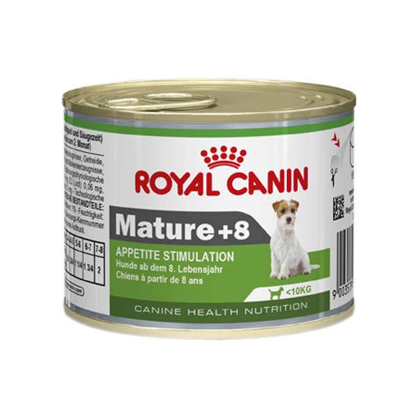 Ração royal canin lata cães adulto mature 8+ 195g