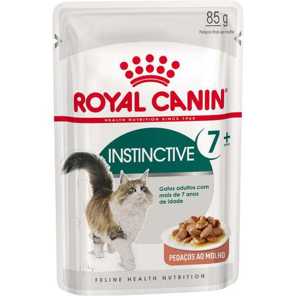 Ração royal canin sache gatos adultos 7+ instinctive 85g