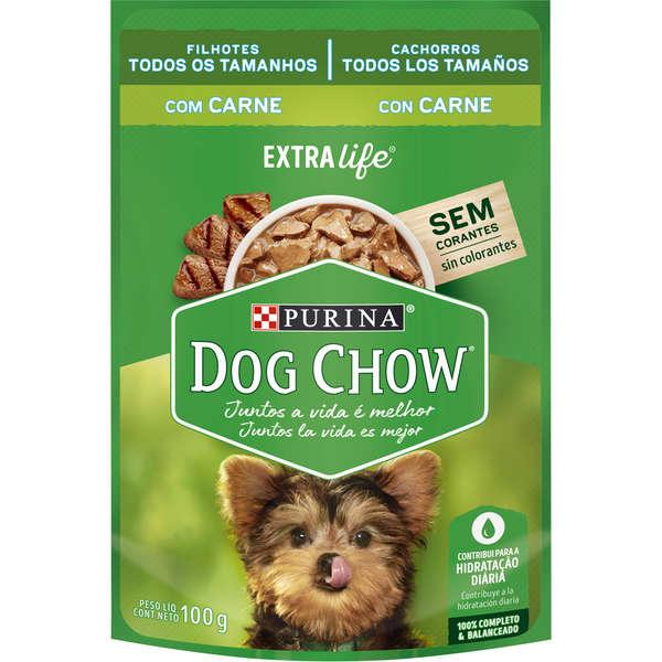 Ração Úmida Nestlé Purina Dog Chow Extra Life Sachê Carne para Cães Filhotes