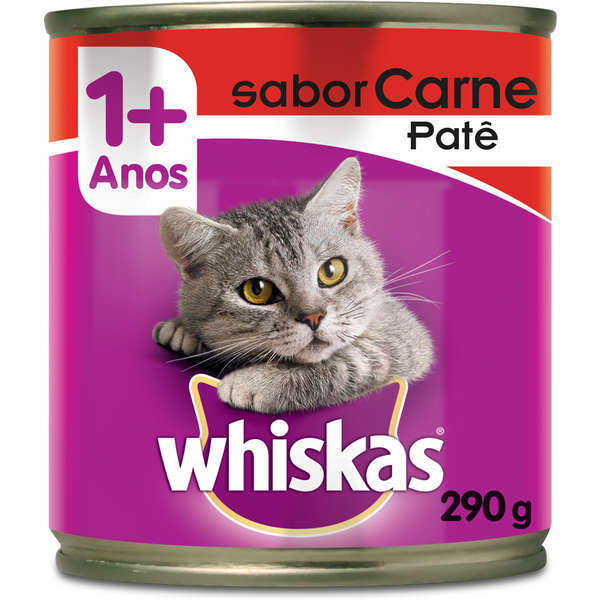 Ração whiskas adulto lata carne pate 290g