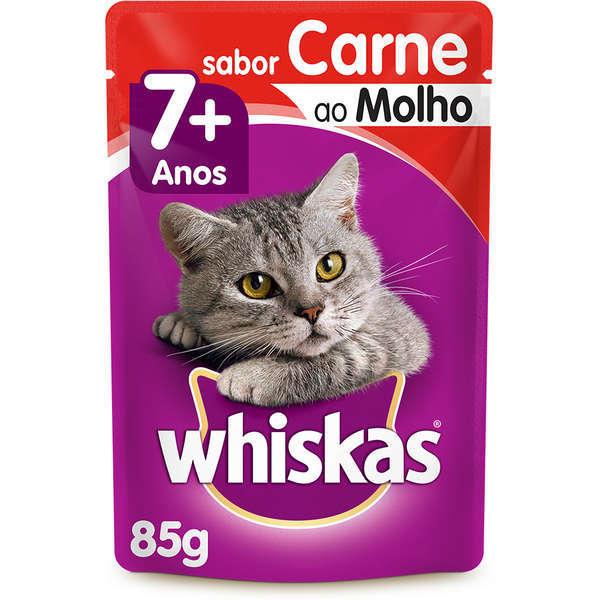 Ração whiskas adulto sache 7+ carne ao molho 85g