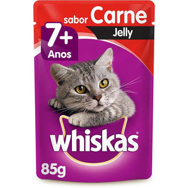 Ração whiskas adulto sache 7+ carne jelly 85g