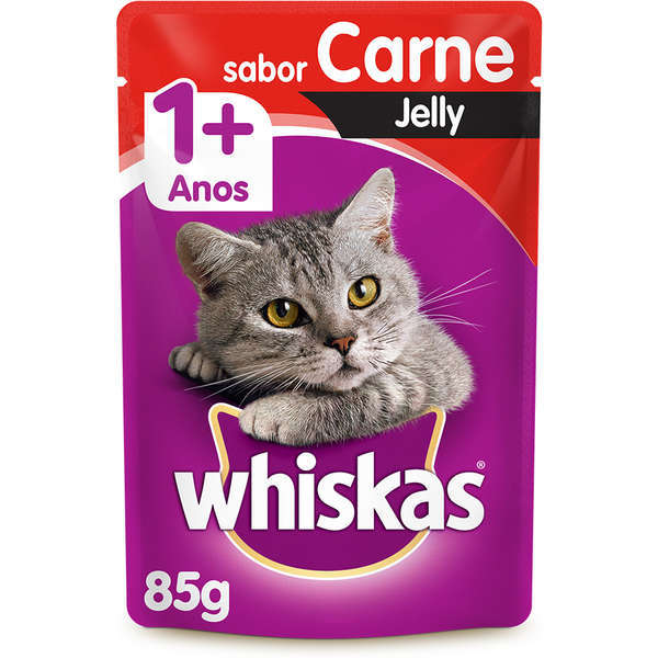 Ração whiskas adulto sache carne jelly 85g