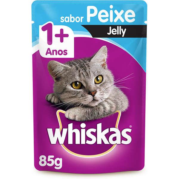 Ração whiskas adulto sache peixe jelly 85g