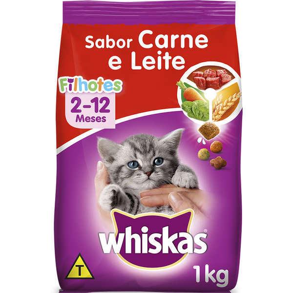 Ração whiskas filhote carne e leite