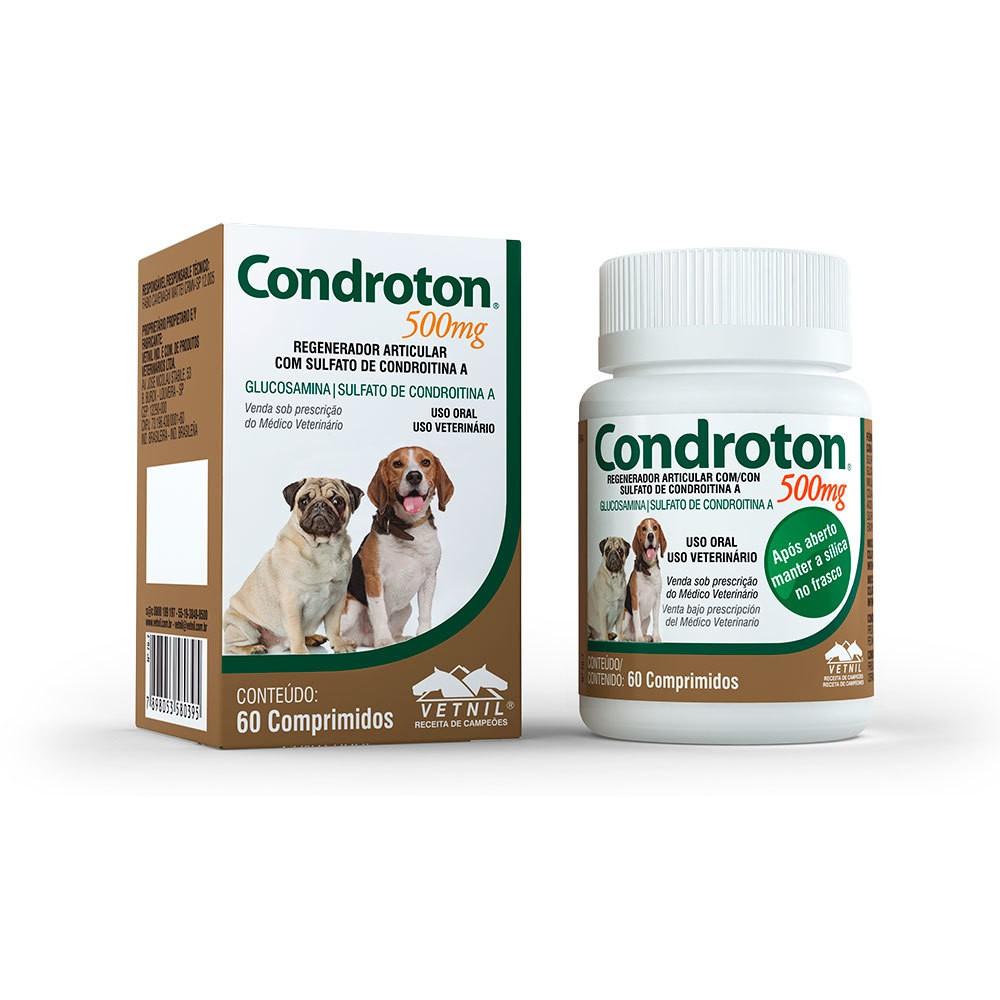 Regenerador articular vetnil condroton 500mg para cães com 60 comprimidos