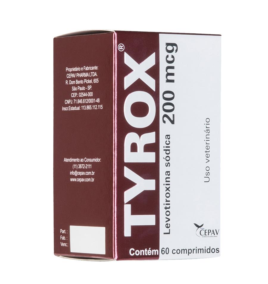 Repositor hormonal cepav tyrox 200mcg para cães