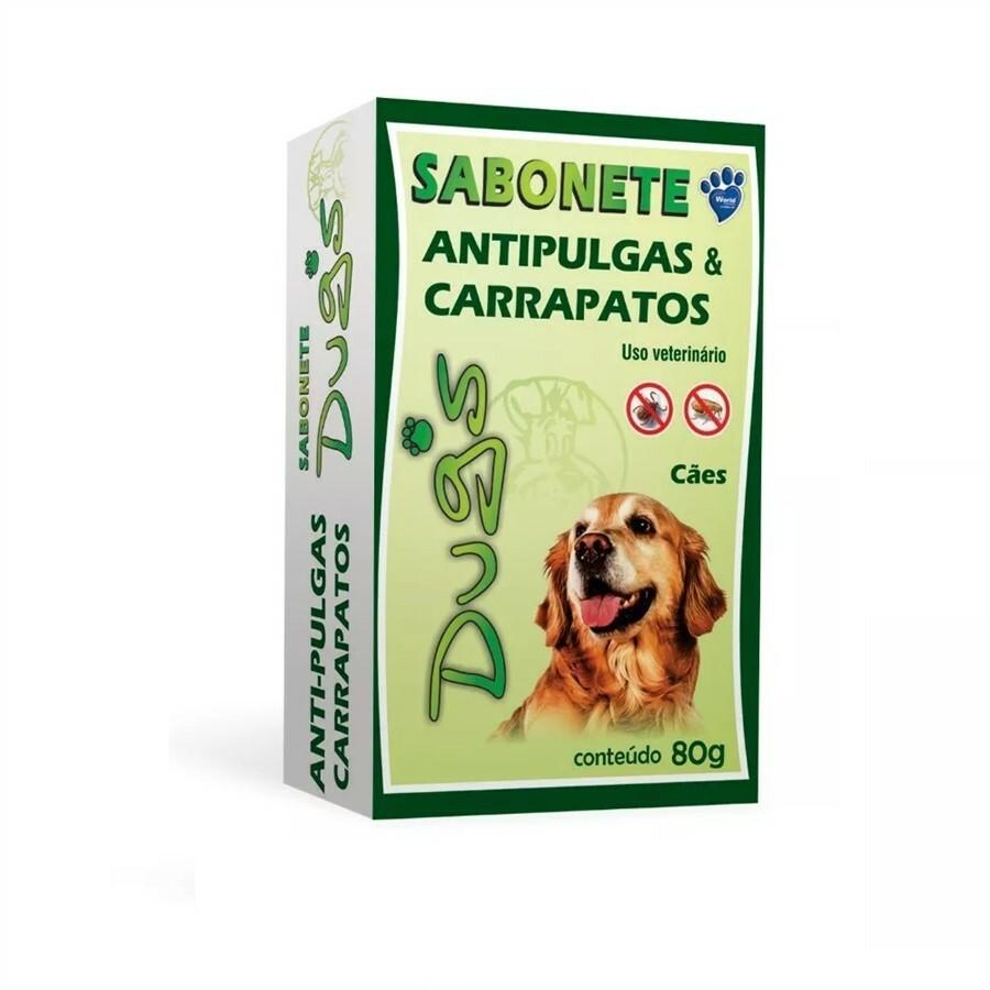 Sabonete dugs 80g contra pulgas e carrapatos