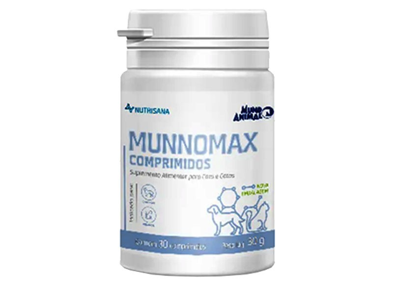 Suplemento alimentar mundo animal nutrisana munnomax comprimidos para cães e gatos