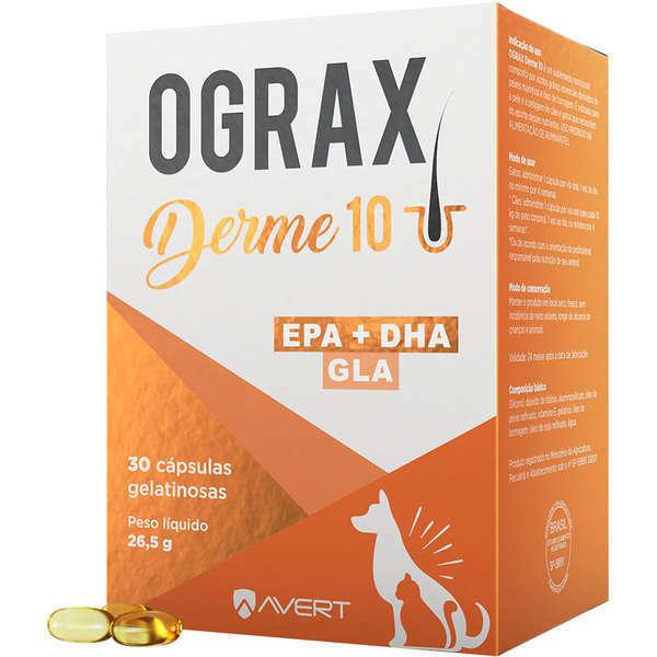 Suplemento alimentar ograx derme 10 com 30 comprimidos para cães e gatos