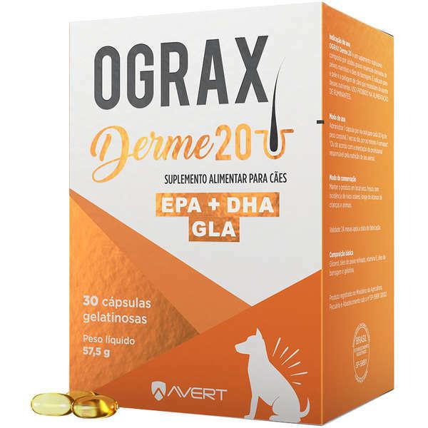 Suplemento alimentar ograx derme 20 com 30 comprimidos para cães
