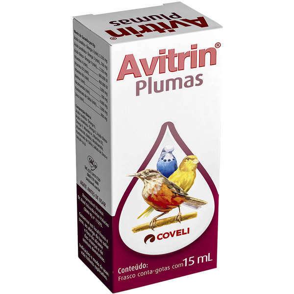 Suplemento Coveli Vitamínico Avitrin Plumas para Pássaros 15ml