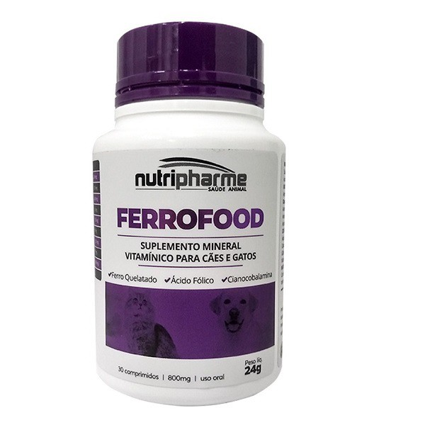Suplemento para cães e gatos ferrofood comprimidos nutripharme