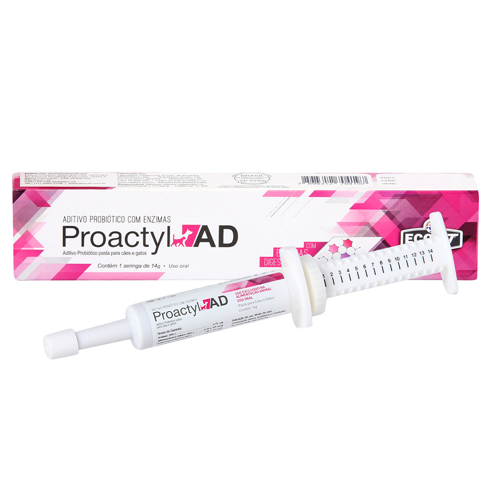 Suplemento probiótico proactyl ad ecovet 14g para cães e gatos