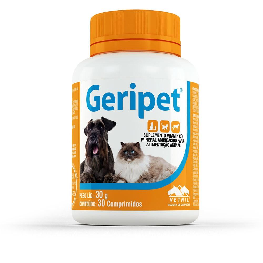 Suplemento vetnil geripet para cães e gatos com 30 comprimidos