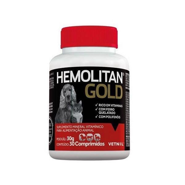 Suplemento vetnil hemolitan gold para cães e gatos com 30 comprimidos